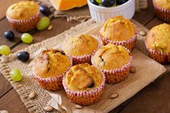 Appetizing and ruddy muffins with pumpkin Stock Photo