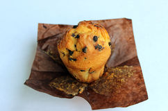 Appetizing, ruddy, tasty vanilla muffin with chocolate pieces Royalty Free Stock Images