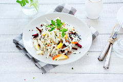 Appetizing salad with apple, beetroot and cabbage Stock Photos