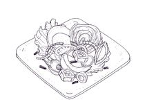 Appetizing salad with vegetables and fish on plate hand drawn with contour lines on white background. Wholesome meal. Made of anchovies, tomatoes, eggs, olives vector illustration