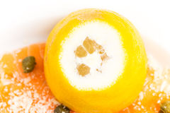 Appetizing salmon carpaccio with lemon. Stock Photography