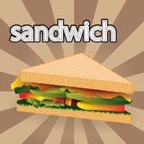 Appetizing sandwich with bacon and vegetables vector illustration isolated on striped background royalty free illustration