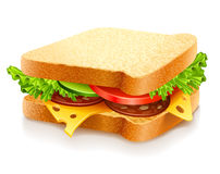 Appetizing sandwich with cheese and vegetables. Appetizing sandwich with cheese sausage and vegetables  illustration isolated on white background Stock Photo