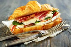Appetizing sandwich closeup. Royalty Free Stock Image