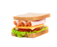 Appetizing sandwich with ham and cheese. Stock Photography