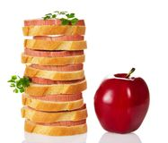 Appetizing sandwiches and red apple Stock Photos