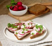 Appetizing sandwiches of rye bread with curd cheese, radishes and lettuce. Rustic style. Appetizing sandwiches of rye bread with curd cheese, radishes and Stock Images
