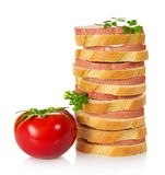 Appetizing sandwiches with the sausage Royalty Free Stock Photography