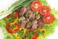 Appetizing shish kebab. With tomatoes and greens Royalty Free Stock Photos