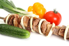 Appetizing shish kebab Stock Photos