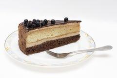 Appetizing slice of sponge cake on a plate closeup. Stock Photos