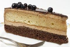 Appetizing slice of sponge cake on a plate closeup. Stock Photo