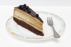 Appetizing slice of sponge cake on a plate closeup. Royalty Free Stock Images