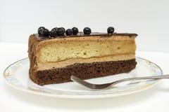 Appetizing slice of sponge cake on a plate closeup. Stock Image