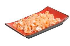 Appetizing sliced salmon on rectangular dish Royalty Free Stock Photography
