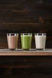 Appetizing smoothies served in glasses stock photo