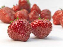 Appetizing strawberries with leaves Royalty Free Stock Photography