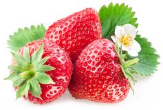 Appetizing strawberry. Appetizing Strawberry with leaves. Isolated on a white background Royalty Free Stock Photography