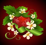 Appetizing strawberry. Surrounded by flowers Stock Photography