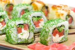 Appetizing tasty Japan rolls close-up. horizontal photo. Royalty Free Stock Photo