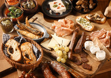 Appetizing Various Tapas on Wooden Table Royalty Free Stock Photography