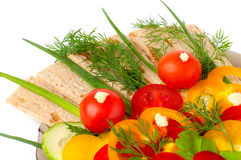 Appetizing vegetables and healthy bread Stock Photo