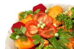 Free Appetizing Vegetables With Fried Salmon Royalty Free Stock Photos - 937738
