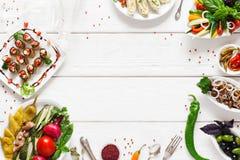 Appetizing vegetarian snacks, free space Royalty Free Stock Photo