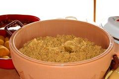 An appetizing view of the dining table. Le fameux `Cococha`, qui signifie foufou chez les Ébriés, spécialité du peuple Atchan, préparé d`une royalty free stock images