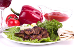 Appetizing weal kebab Royalty Free Stock Images