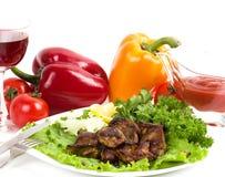 Appetizing weal kebab on skewers Royalty Free Stock Photos