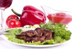 Appetizing weal kebab on skewers Royalty Free Stock Image