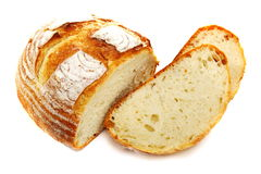 Appetizing white bread on a white background. Royalty Free Stock Photography