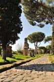 Appia Antica gata Arkivfoton