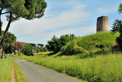 Appia Antica gata i Rome Royaltyfria Foton