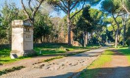 Appian sposób Appia Antica w Rzym fotografia royalty free