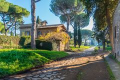 Appian sposób Appia Antica w Rzym zdjęcia stock