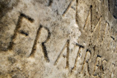 Appian Way (Appia Antica) tombstone close-up Royalty Free Stock Photography