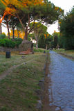 Appian Way (Via Appia) in Rome, Italy. Via Appia Antica (Old Appian Way) was once one of the world's most important roads and the most famous of all the roads Stock Photo