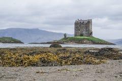 APPIN,苏格兰- 2015年8月14日:城堡潜随猎物者在雨中 库存图片
