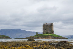 APPIN, SCOTLAND - AUGUST 14 2015 : Castle Stalker in the rain Stock Images
