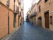 Appio Claudio street in Fondi, Italy. Fondi, Italy - 10 june 2013: Appio Claudio street. Fondi`s urban core is located in the south pontino halfway between Rome Stock Image
