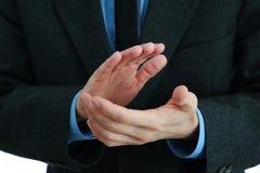 Applådera för Businessmans händer Arkivfoto