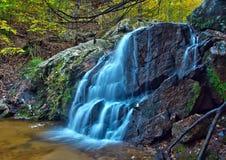 Applådera skogsmarkvattenfallet och nedgånglövverk Fotografering för Bildbyråer