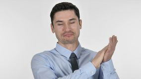 Applaudierender Geschäftsmann, klatschend auf weißem Hintergrund stock video footage