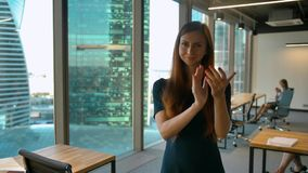 Applauding, Business Woman Clapping for Team, Indoor. She happy of successful office work. Portrait. 4K Slow motion stock video