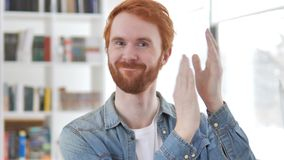 Applauding, Clapping Casual Redhead Man. 4k high quality, 4k high quality stock video footage