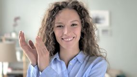 Applauding, clapping curly hair woman. 4k high quality, 4k high quality stock video footage