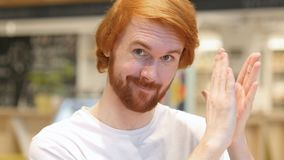 Applauding, Headshot of Happy Redhead Beard Man Clapping in Cafe stock photos