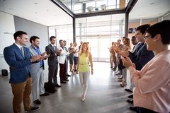 Applauding to smile confident leader employer royalty free stock image